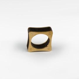Anel Quadrado Mogno-Dourado