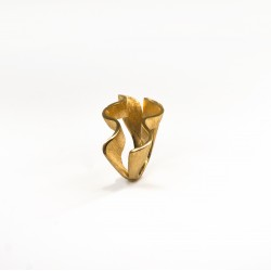 Anel Recife Ondulado Duplo- Dourado